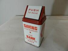 VINTAGE TIN SAVINGS BANK TRASHCAN-SUPERIOR TOY & MFG. CO.-VINTAGE BANK-TIN TOY
