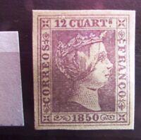 EF2i_23r. Spain ed 2, Isabel 12 cu. 1850, nuevo?. lila claro. Ver bonito