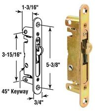 Sliding Glass Patio Door Mortise Latch with 45 Degree Keyway