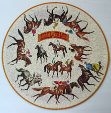 COMPLETE Vtg SPRINGBOK 6023 CIRCULAR JIGSAW PUZZLE Racing Hall of Fame HORSES