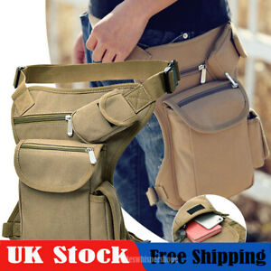 Men Canvas Tactical Motorcycle Riding Hip Fanny Pack Waist Thigh Drop Leg Bag UK