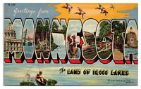 1956 Greetings from Minnesota Land of 10,000 Lakes LARGE LETTER Postcard