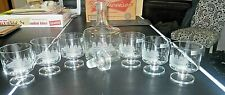 TOSCANY Hand Blown Etched Sail Boat Clipper Glass/Decantur Set from ROMANIA