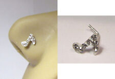 Sterling Silver Music Note Clay CZ Nose Stud Jewelry L Shape Pin Post 20 gauge