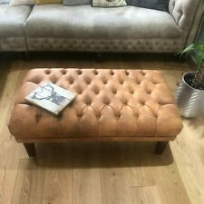 ❤️❤️❤️ ,,OXFORD '' BUTTONED FOOTSTOOL  Antique  Faux Leather