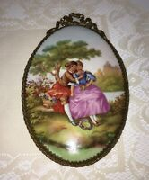 Rare LARGE Limoges Hand Painted Porcelain, Fragonard Couple, Signed Brass Plaque