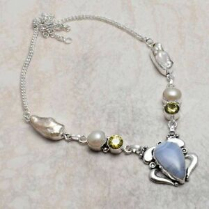 Blue Lace Agate Citrine Ethnic Handmade Necklace Jewelry 25 Gms AN 3422