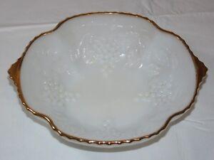 "Vintage Milk Glass 22K Gold Trim 10"" X 8 1/8"" Anchor Hocking Serving Bowl~"