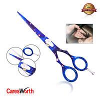 CaresWorth Barber Scissors Razor Sharp Japanese Salon Hairs Cutting Shears Blue