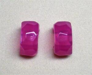 NEW JOAN RIVERS FACETED FUCHSIA RESIN HALF HOOP PIERCED EARRING EXCELLENT