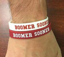 "Oklahoma Sooners Wristbands Bracelets NCAA ""BOOMER SOONER"" Set Of 2"