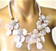 AUTHENTIC LELE SADOUGHI White MOP Acetate Lily Flower STATEMENT Necklace