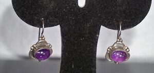 Vintage Sterling Silver 925 Amethyst Hook Earrings Dangle 4.2G Bali Style