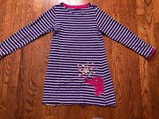 Mini Boden Dress Purple Stripes Pink Elephant Dress Cotton Girls 7-8 Yrs