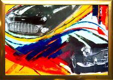 Aston Martin Acrilico-PHOTO-collage 100 x 70 cm pezzo unico AUTO-ciclo max stella * 1968