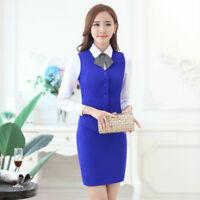 Lady 2PCS Formal Waistcoat Bodycon Skirt Suit Vest Slim Fitted Office Work Wear