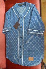 LOUIS VUITTON x SUPREME Monogram Blue Jacquard Denim Baseball Jersey Shirt Large