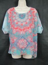 MADE IN ITALY pink & green floral silk blend loose fit top size large