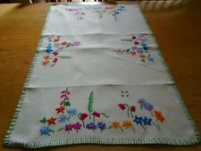 More details for  vintage hand embroidered  irish linen table mat -  flowers