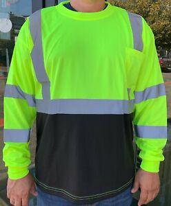 Yellow High Visibility Long Sleeve Safety Shirt Reflective / Black Bottom