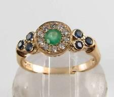 9K 9CT GOLD EMERALD DIAMOND SAPPHIRE ART DECO INS CLUSTER RING FREE RESIZE