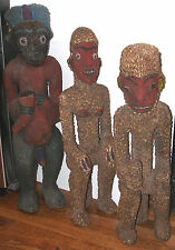 "VINTAGE-SET of 3 CAMEROON ROYAL BAMILEKE FIGURES- 36"" MALE+FEMALE+SEATED MONKEY"
