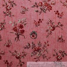 BonEful Fabric Cotton Quilt VTG Pink Rose Flower Texture Stripe Old World SCRAP
