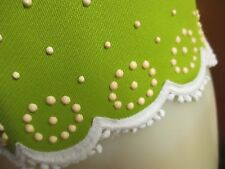 Medium 10 True Vtg 60s Stretch Knit Lime Green Stud Dotted Frock Zipback Top