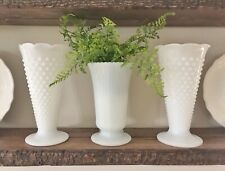 New ListingVintage Anchor Hocking & E.O.Brody Tall Milk Glass Trumpet Vases. Lot Of 3