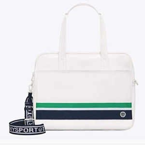 Tory Sport Rexin Sport Tote Gym Bag Faux Leather Canvas Ivory Green Large NWT