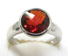 #R80808B 1.5ct. Ruby Red Helenite Round Bezel-Set Sterling Silver Ring