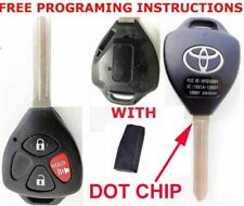 TOYOTA LOGO OEM 3 BUTTON REMOTE VIRGIN CHIP NEW DOT ON BLADE UNCUT KEY HYQ12BBY