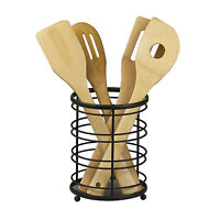 Home Basics Flat Wire Cutlery and Utensil Holder Black