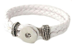 White Rope  PU Leather 8 inch 18-20mm Snap Charm Bracelet For Ginger Snaps