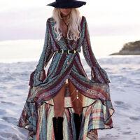 Women's Ladies Rayon V-neck Floral Bohemian Long Sleeve Maxi Dress Beach Cover