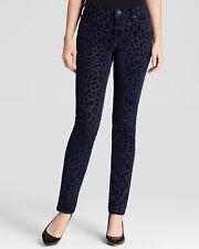 True Religion Women's Blue Halle Mid Rise Super Skinny Jeans in Leopard Print 26