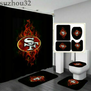 San Francisco 49ers Shower Curtain Non-slip Rugs Toilet Lid Cover Bathroom 4PCS