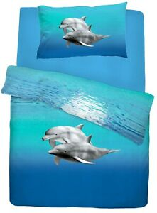 Dolphin Bedding Set Under The Sea Duvet Cover & Pillowcase Set Double Bed