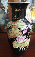 """10"""" tall vintage Chinese hand painted vase. flowers & birds on black ground"""
