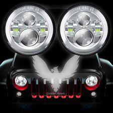 """2x 7"""" Chrome 80W CREE LED Headlight H4 H13 Hi Lo For Jeep Wrangler JK TJ LJ CJ"""