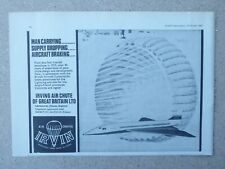 10/1967 PUB IRVIN IRVING AIR CHUTE CONCORDE BRAKE PARACHUTE ORIGINAL AD