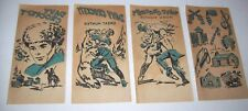 Davy Crockett Original Vintage 1950s NOS Set Of (4) Blue Iron On Transfer Decals