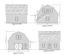 24x24 - 2 CAR GARAGE PLAN - GAMBREL ROOF - PLAN #18-2424GMB-5 (MRE)