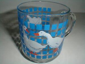 3 Cris D'Arques France Luminarc Arcoroc Geese Duck Glass Mugs Cups 1982 THREE