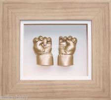 NEONATO NEW BABY CASTING KIT SET REGALO GESSO mano piede 3D CAST FAI DA TE CORNICE ORO