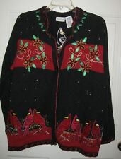 White Stag Cardinals Christmas cardigan sweater 18W 20W Ugly 18 W black red