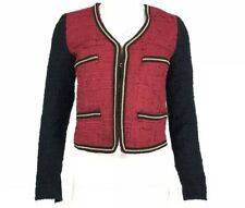 MNG Suit Womens Jacket Red Gold Michael Jackson Theme Clasp Textured Sz XS A45