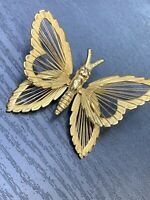 "Ladies Vintage Pin Brooch Monet Signed Butterfly Gold Tone 2"" Wide"