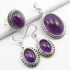 Silver Amethyst Earrings Pendant Ring Sz 7 Genuine Gemstone 3 Pieces Set ! 925