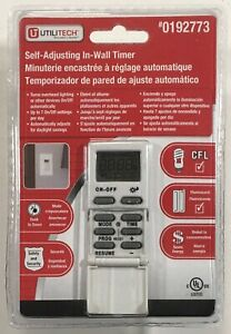 Utilitech Self Adjusting In-Wall Digital Timer On/Off Switch #0192773 New Sealed